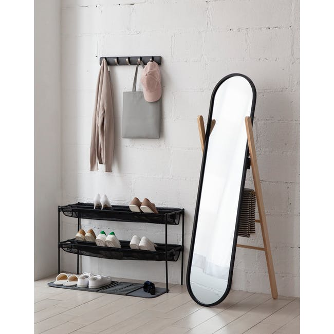 Hub Floor Mirror - Black, Natural - 1