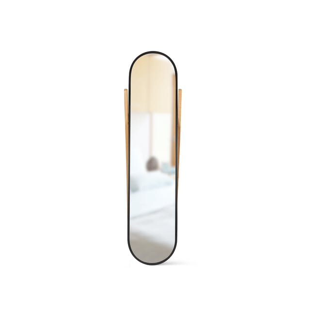 Hub Floor Mirror - Black, Natural - 2