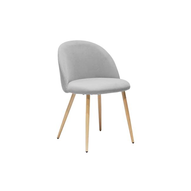 Chloe Dining Chair - Oak, Pale Grey (Fabric) - 0