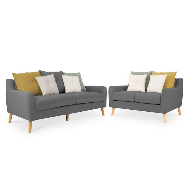Evan 3 Seater Sofa with Evan 2 Seater Sofa - Charcoal Grey - 0