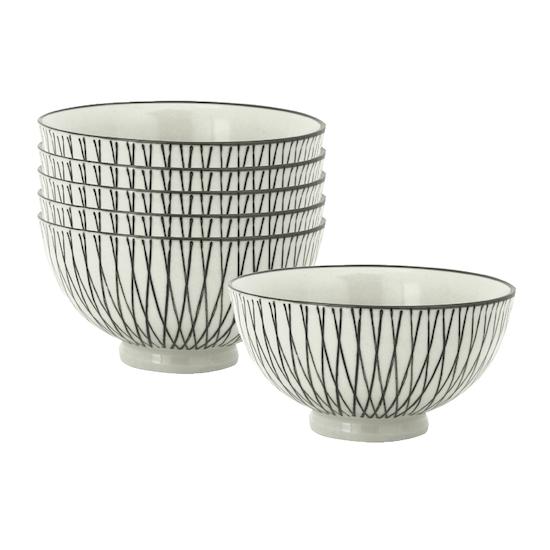 Helga - Vertiver Small Rice Bowl - White, Crossed (Set of 6)