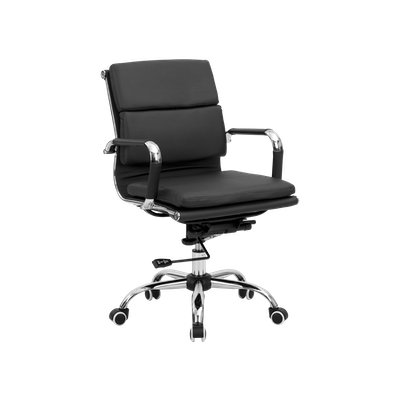 Eames Soft Pad Mid Back Office Chair - Black (PU) - Image 2