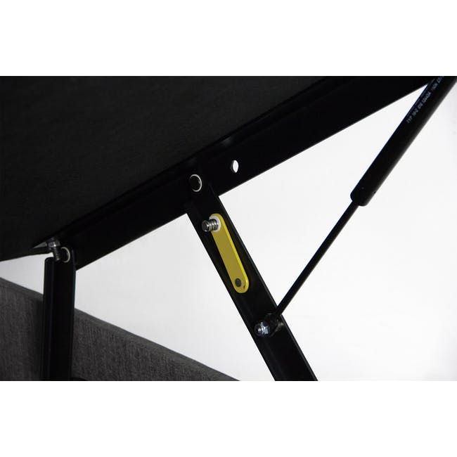 ESSENTIALS Super Single Storage Bed - Smoke (Fabric) - 4