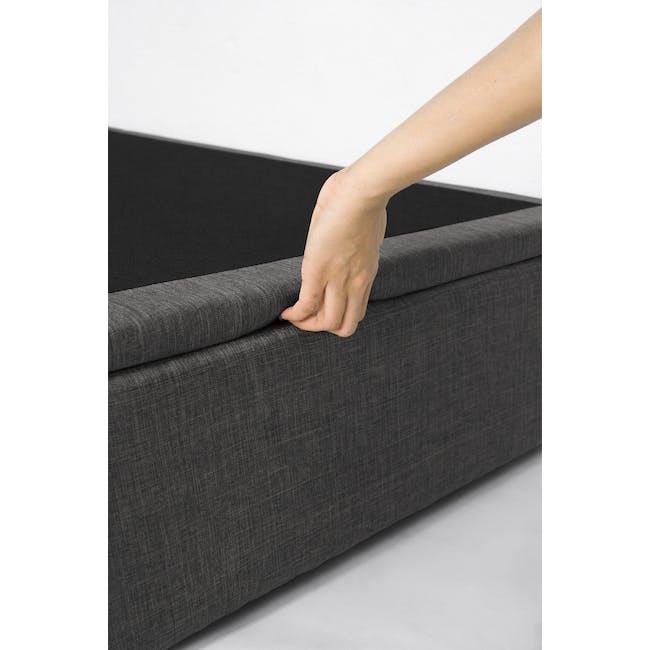 ESSENTIALS Single Headboard Storage Bed - Smoke (Fabric) - 10