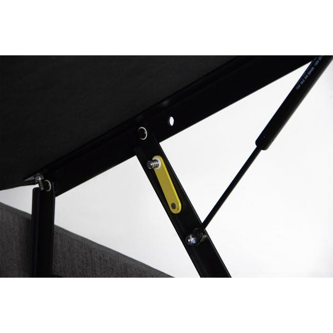 ESSENTIALS Super Single Headboard Storage Bed - Smoke (Fabric) - 9