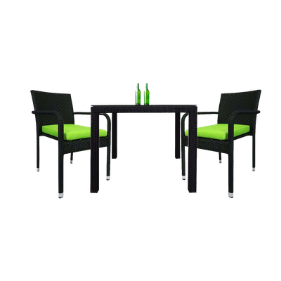 Palm Dining Couple Set with Green Cushions