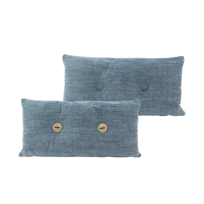 Distintivo Rectangle Cushion - Blue Grey, Down Feathers (Domett Fabric) - Image 2