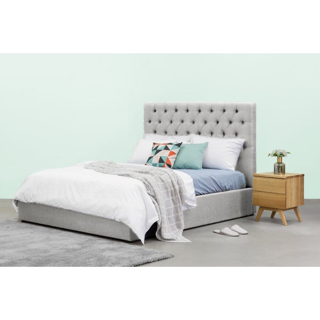 Isabelle Queen Storage Bed - Silver Fox (Fabric) - 1