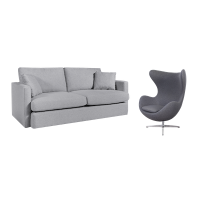 Ashley 3 Seater Sofa with Egg Chair - Image 1