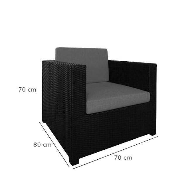 Black Fiesta Outdoor Sofa Set II - Orange Cushions - 6