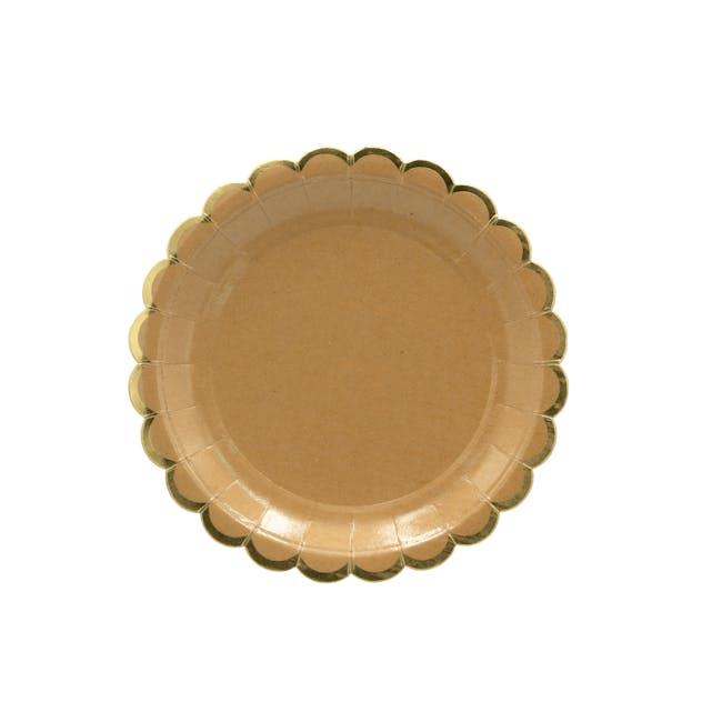 Scalloped Gold Kraft Paper Plate 18 cm - Set of 8 - 0