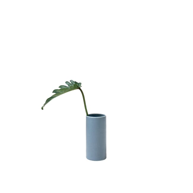Nordic Matte Vase Small Straight Cylinder - Blue Grey - 0