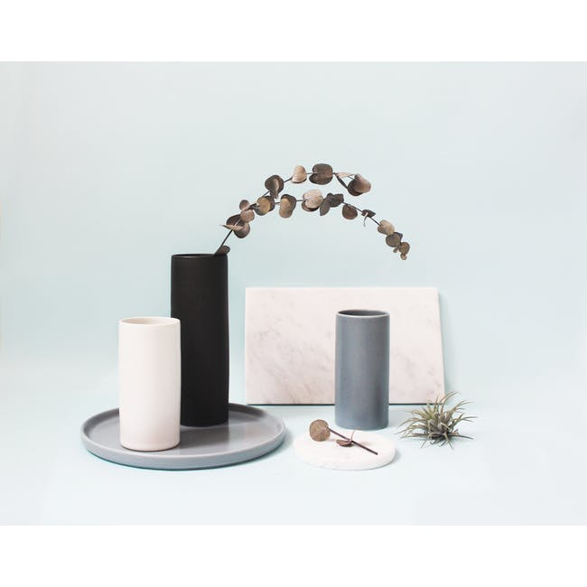Nordic Matte Vase Small Straight Cylinder - Blue Grey - 1