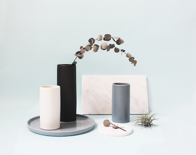 Nordic Matte Vase Small Straight Cylinder - Blue Grey - Image 2