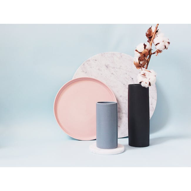 Nordic Matte Vase Small Straight Cylinder - Blue Grey - 2