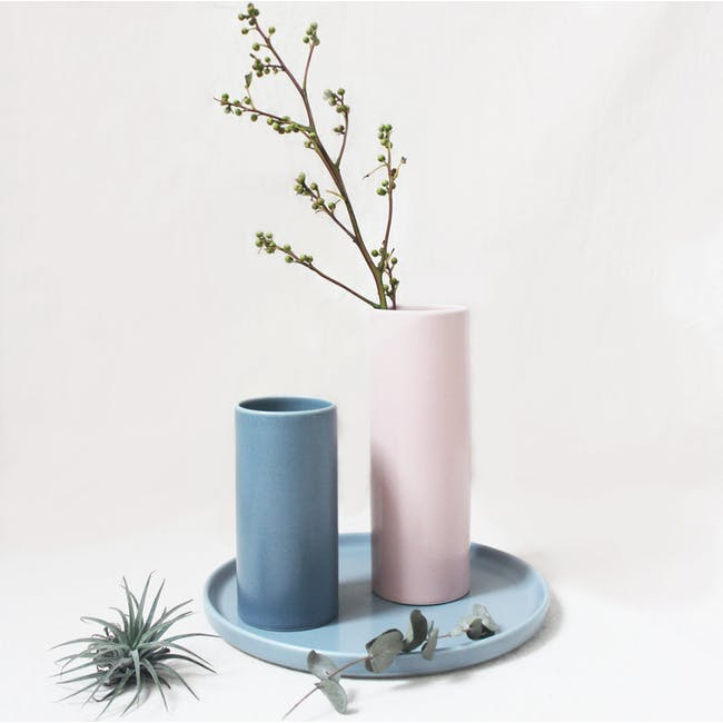Nordic Matte Vase Small Straight Cylinder - Blue Grey - 4