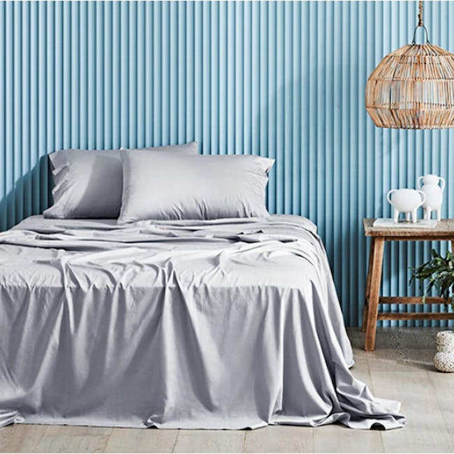 Canningvale Lustro Bamboo Quilt Cover Set - Perla Silver (2 Sizes) - 0