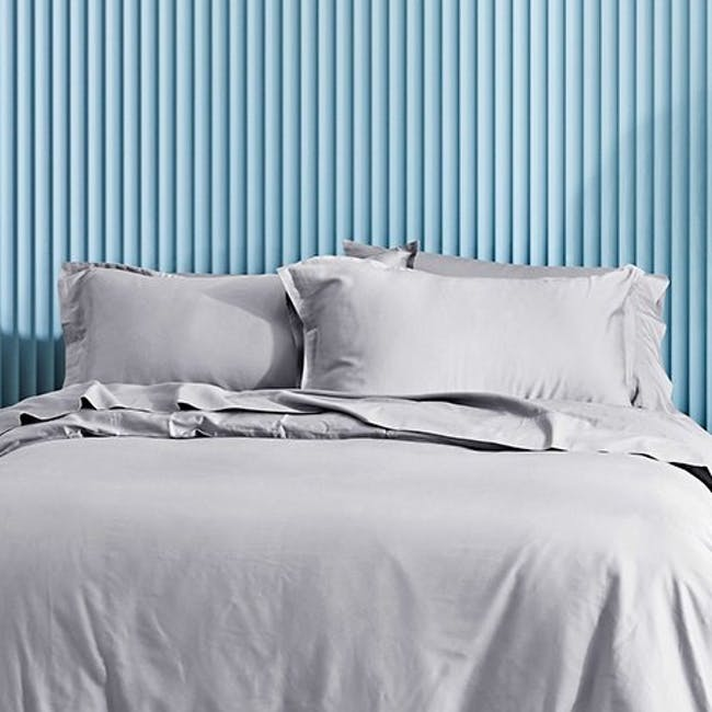 Canningvale Lustro Bamboo Quilt Cover Set - Perla Silver (2 Sizes) - 1