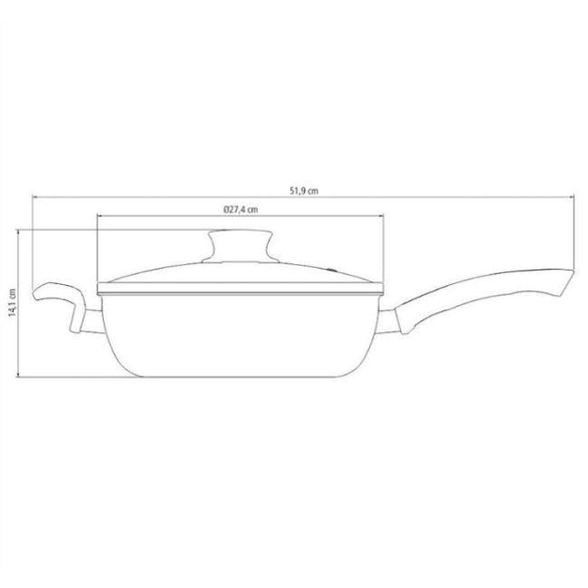 Tramontina Starflon Non-Stick Skillet with Lid26cm - 1