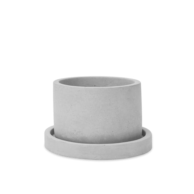 Round Concrete Pot with Saucer - Small - 0