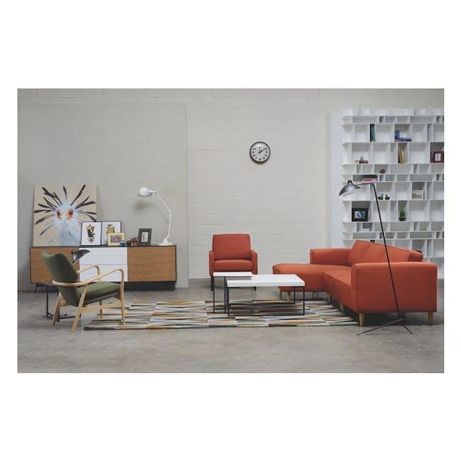 Myron Square Coffee Table - Oak, Matt Silver - 3