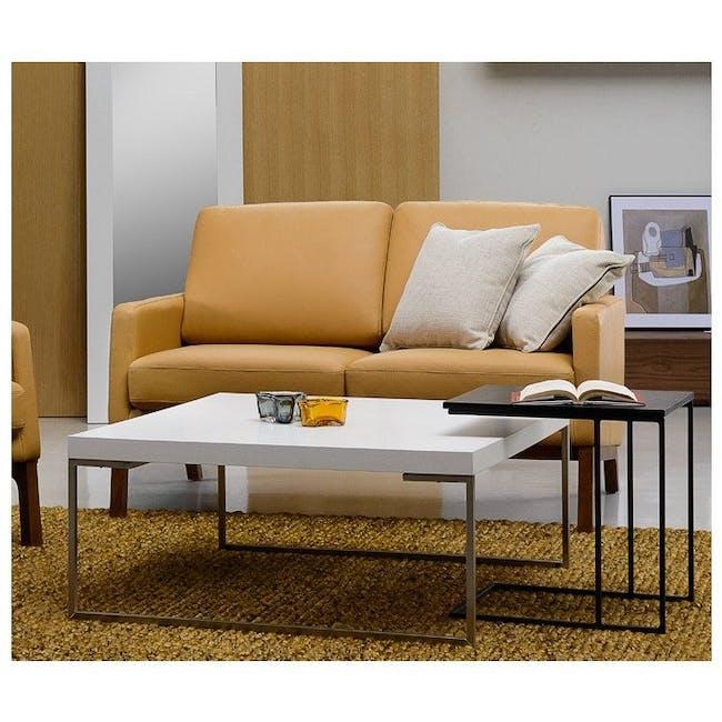 Myron Square Coffee Table - Oak, Matt Silver - 4