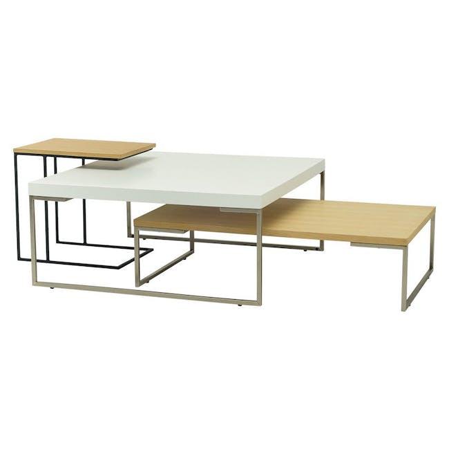 Myron Square Coffee Table - Oak, Matt Silver - 2