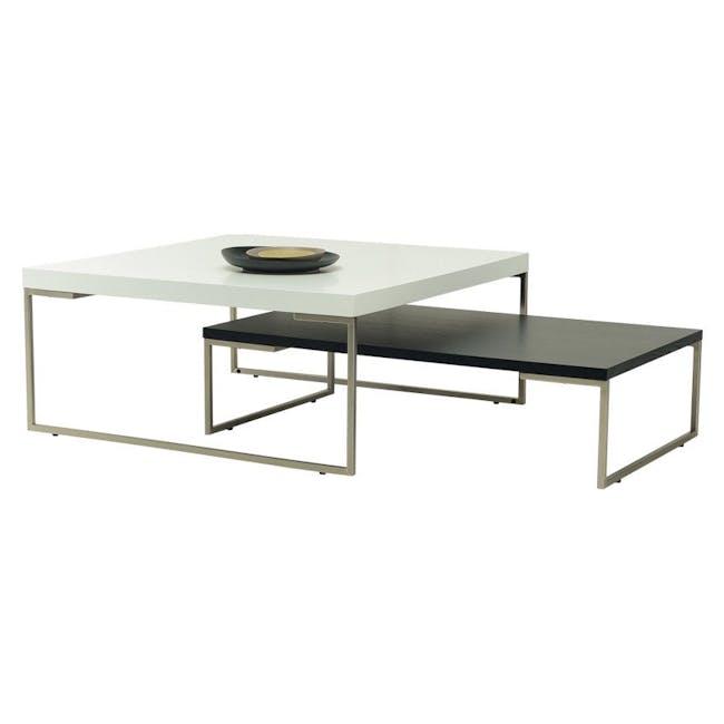 Myron Square Coffee Table - Oak, Matt Silver - 1