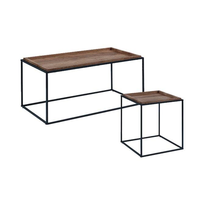 Dana Rectangle Coffee Table 1m and Dana Square Side Table - Walnut - 0