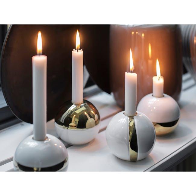Kayla Candle Holder - White Gold - 1