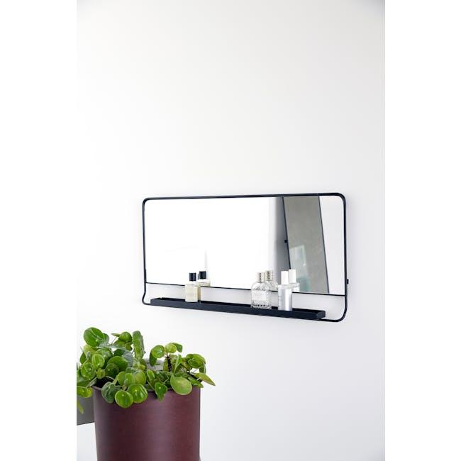 Larry Horizontal Wall Mirror with Shelf - Black - 1