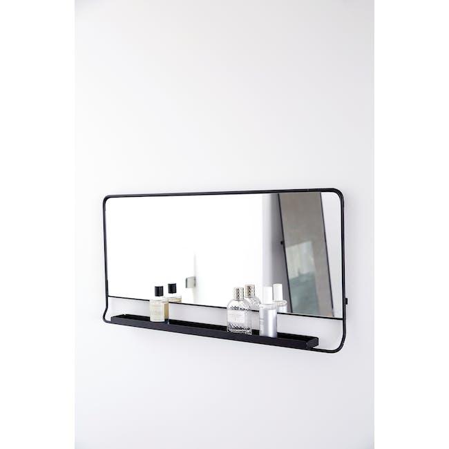 Larry Horizontal Wall Mirror with Shelf - Black - 3