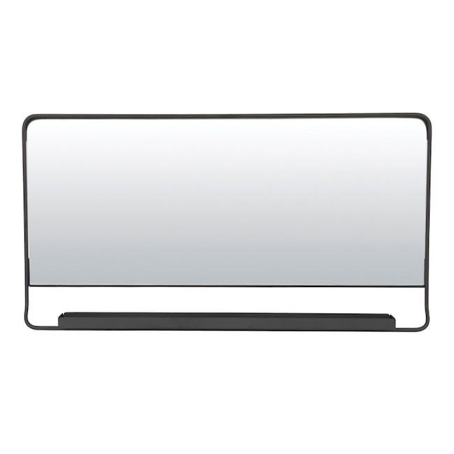 Larry Horizontal Wall Mirror with Shelf - Black - 0