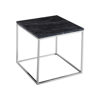 Amelia Marble Side Table - Dark Grey, Chrome - Image 2
