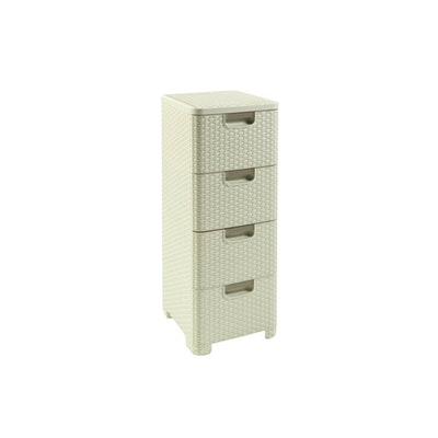 Rattan Style Drawer 4 - Off White