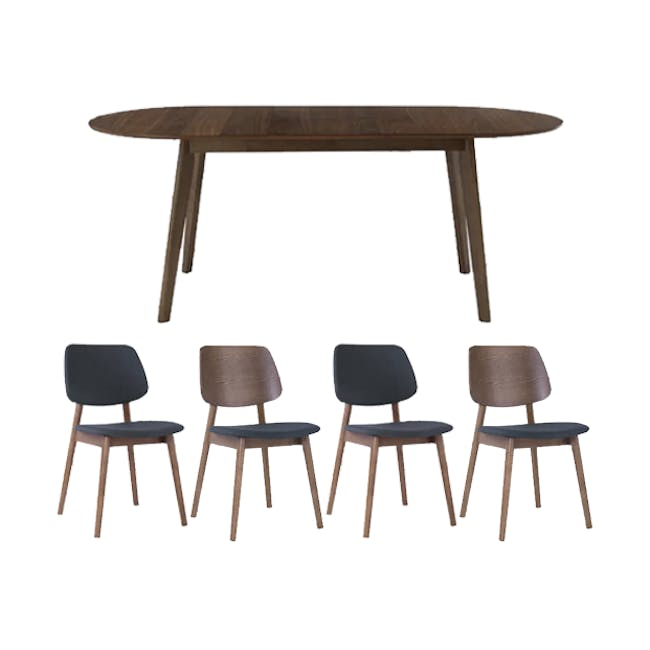 Werner Extendable Oval Dining Table 1.5m with 4 Riley Dining Chairs - 0