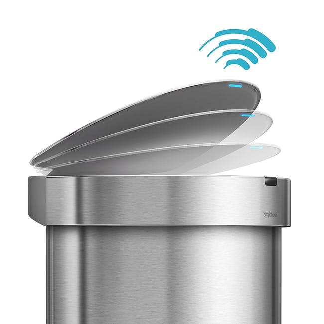 simplehuman Semi-Round Sensor Bin 45L - Silver - 5