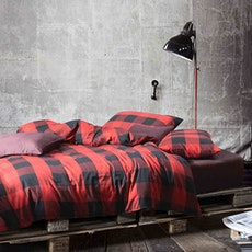 Cotton 4-Pc Fitted Sheet Set - Red & Black Checks - King