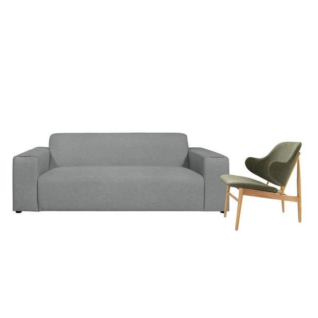 Adam 3 Seater Sofa in Stone with Veronic in Forest Green - 0