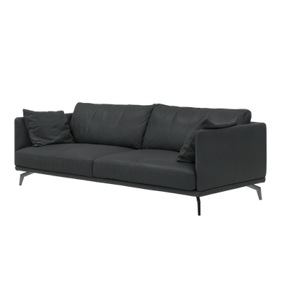 Como 3 Seater Sofa - Slate (Premium Cowhide), Down Feathers - Image 2