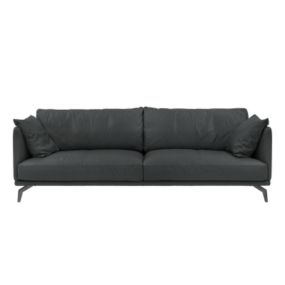Como 3 Seater Sofa - Slate (Premium Cowhide), Down Feathers - Image 1