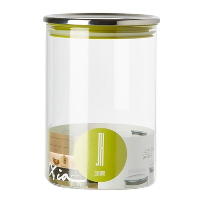 1L Glass Jar With Stainless Steel Cover - Green