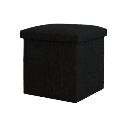 Domo Foldable Storage Cube Ottoman (Set of 2) - Black - Image 1