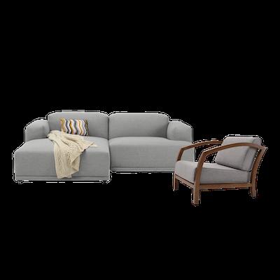 Flex 3 Seater L Shape Sofa with Velda Lounge Chair - Image 1