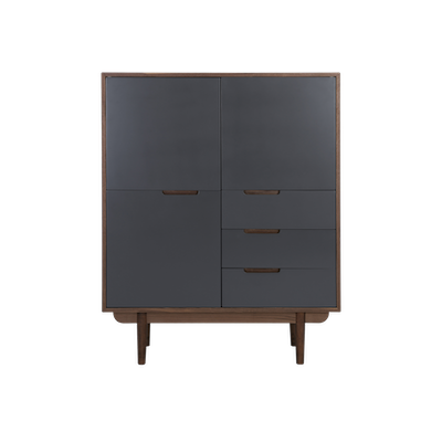 Larisa Tall Sideboard 1.1m - Walnut, Grey - Image 1