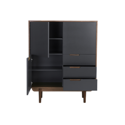 Larisa Tall Sideboard 1.1m - Walnut, Grey - Image 2
