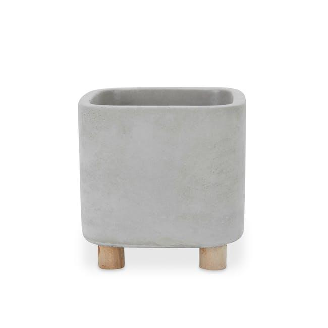 Mona Square Concrete Planter with Legs - Small - 0