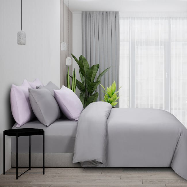 Marie Claire Morpheus Solid Fitted Sheet - Glacier Gray (4 Sizes) - 0