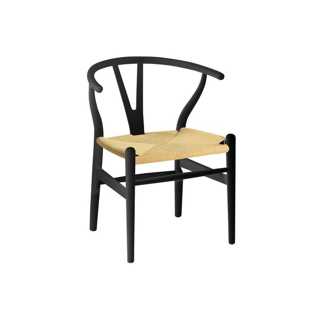 Tyrus Dining Table 2m with 4 Wishbone Chair Replica in Black, Natural Cord - 3