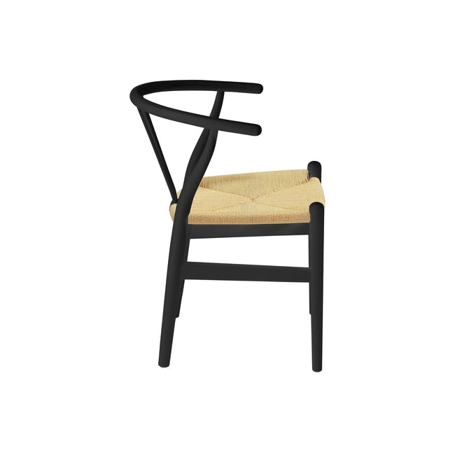 Tyrus Dining Table 2m with 4 Wishbone Chair Replica in Black, Natural Cord - 7